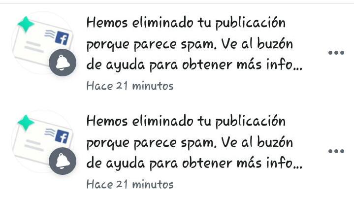 Aviso de Facebook informando de eliminación de publicación por motivos de spam. Imagen proveída por el Partido de los Trabajadores en Paraguay