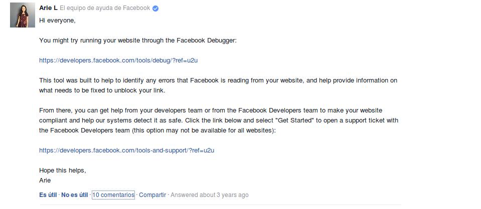Respuesta en foro de consultas de Facebook por parte de la compañía y solo en inglés. Imagen extraída del foro de consultas de Facebook