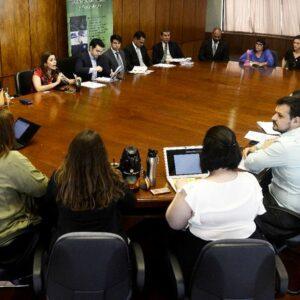 personas pertenecientes a instituciones públicas, privadas y sociedad civil alrededor de una mesa en una sala de la Cámara de Diputados