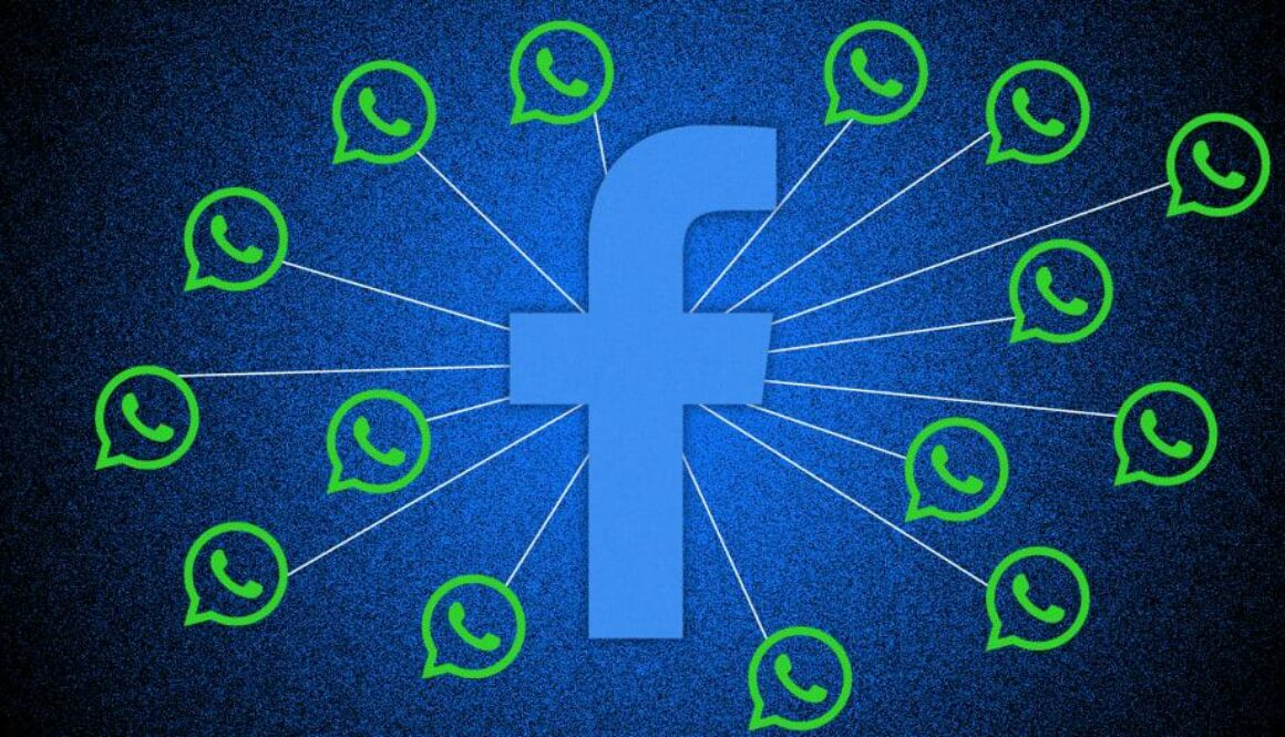 Facebook con logos de WhatsApp