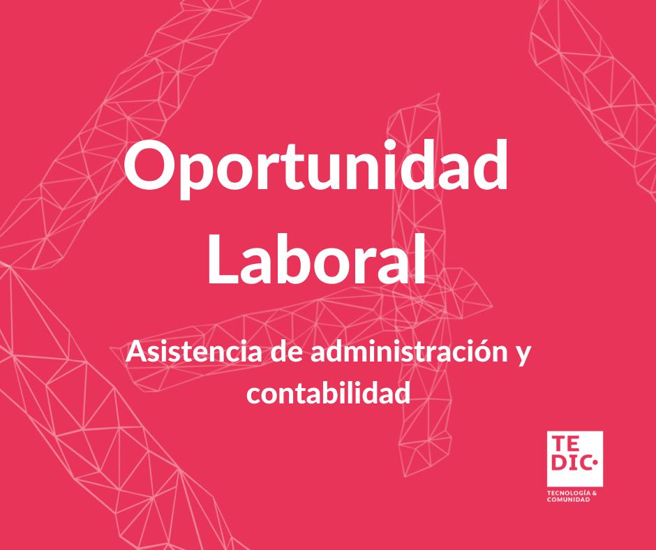Flyer con fondo rosa publicitando oportunidad laboral
